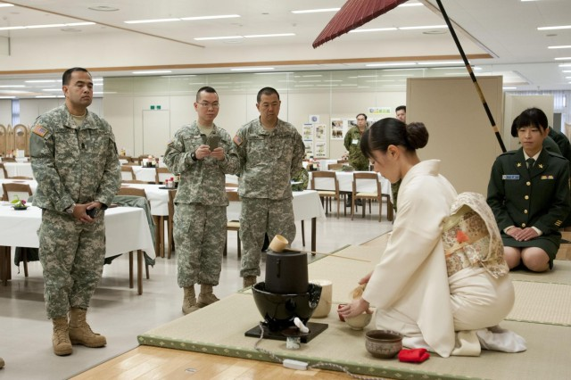 A cultural tea ceremony was held for members of the U.S. Army, participating in the joint training session known as Yama Sakura 63 held in Sendai, Japan. The soldiers learned the history behind the ceremony, watched a demonstration by Middle Army Member Yoko Kono and had the opportunity to take part in the ceremony by turning their cup, taking a sip and enjoying their freshly prepared green tea.