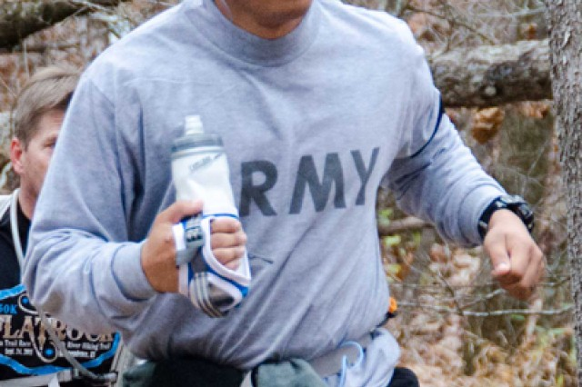 2nd Lt. Paul Mark Ballesteros, Fort Leonard Wood, Mo., competes in the Ozark Trail Endurance Run Nov. 3 near Steelville, Mo.