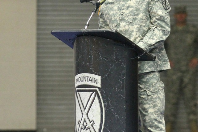 Maj. Gen. Stephen J. Townsend, Fort Drum and 10th Mountain Division (LI) commander, addresses the audience during a change of command ceremony Monday in Magrath Gym.