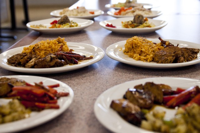 The line of dishes made for the tryouts for Fort Lee, Va.'s 38th Annual Military Culinary Arts Competition, in Schofield Barracks, Oct. 17.