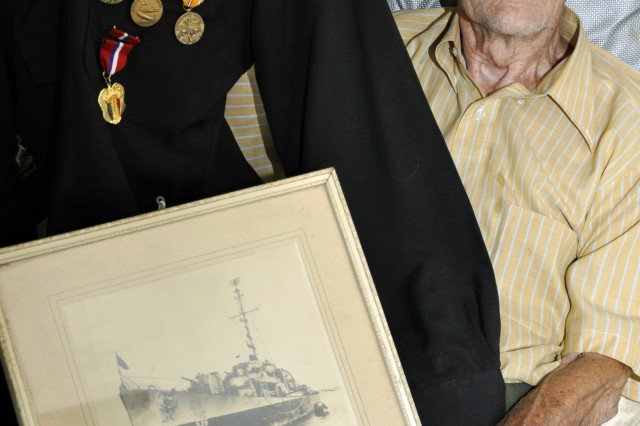 Ernie Blanchet, from Troy, N.Y., was employed at the Watervliet Arsenal, N.Y., when the Japanese attacked Pearl Harbor, Dec. 7, 1941.  He eventually enlisted in 1944 and served on a U.S. Navy Destroyer Escort ship until he was discharged after the war.  He came back to the Arsenal after his discharge where he worked until he retired in 1971.  He is now 99-years-old and he said he plans to help the Arsenal celebrate its 200th anniversary in July 2013, when he will be 100.