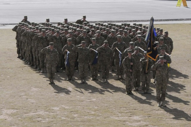 Soldiers from 3rd Battalion, 41st Infantry Regiment (Rifle), stand in formation during the 1st Brigade Combat Team, 1st Armored Division, casing ceremony at Fort Bliss, Texas, Dec. 4.  The brigade cased their colors to signify their upcoming deployment to Afghanistan.