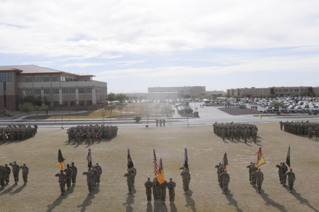 The 1st Brigade Combat Team, 1st Armored Divsion cased their colors during a ceremony at Fort Bliss, Texas, Dec. 4.  The ceremony was held to signify the brigade's upcoming deployment to Afghanistan.