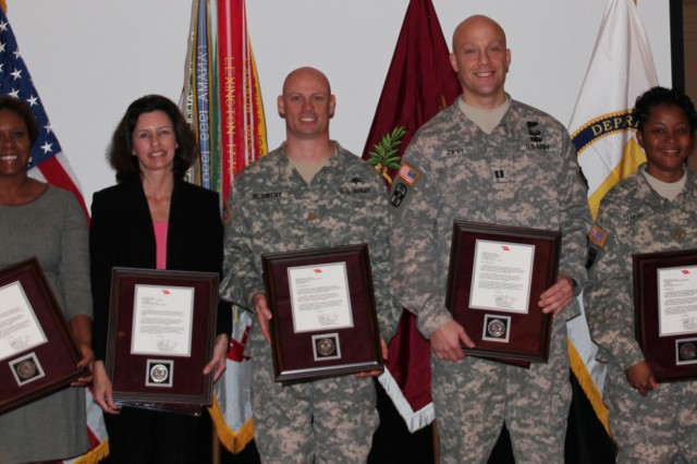 Winners of the 2012 Army Medicine Karen Wagner Leadership Awards  (Pictured from left to right) Mr. Gregg Stevens (Chief of the AMEDD Civilian Corps), Ms. Lolethia Gordon, Ms. Shelly Heath, Maj. Anthony McGinthy, Cpt. Kevin Zippi, Maj. Lamisa Guy and Brig. Gen. Dennis Doyle (Commander of the Pacific Regional Medical Command & Chief of the Army Medical Service Corps).