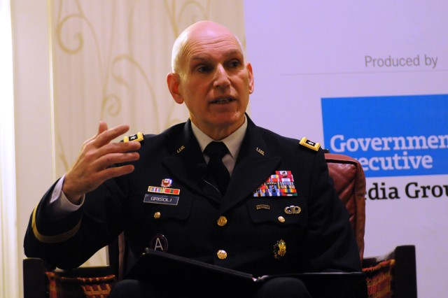 "Lt. Gen. William Grisoli, director, Army Office of Business Transformation, speaks to the Government Executive Media Group, Dec. 6, 2012, as part of a panel discussing fiscal challenges with possible sequestration known as the ""fiscal cliff."""