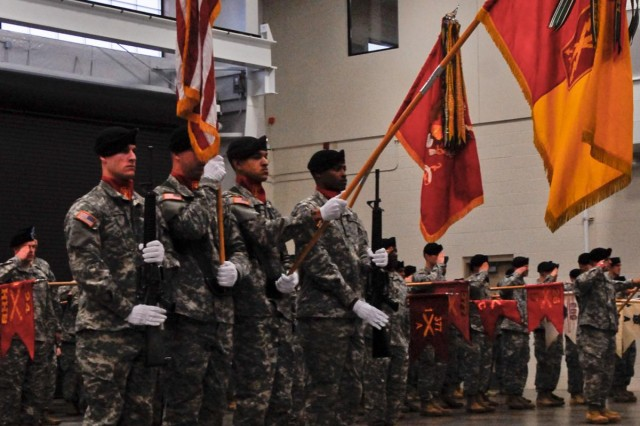 Soldiers with 17th Fires Brigade perform color guard duties during a change of responsibility ceremony at a brigade motor bay, Dec. 6. (U.S. Army photo by Spc. Nathan Goodall, 17th Fires Brigade Public Affairs)