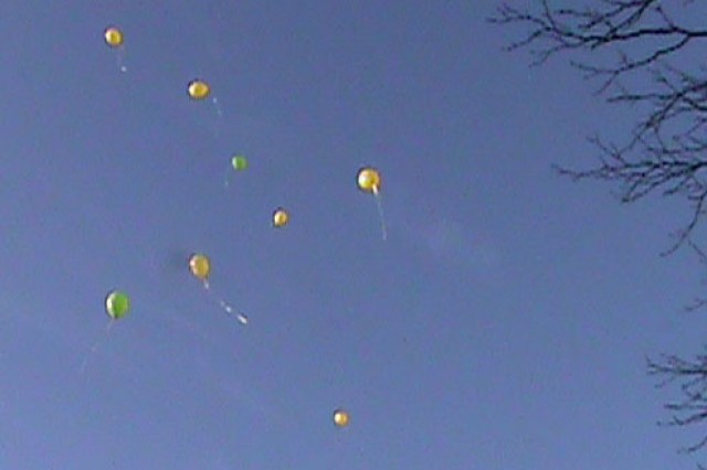 A balloon release was a symbolic part of the recent Day of Remembrance ceremony held at Carl R. Darnall Army Medical Center. The ceremony is designed to help families who have lost a baby to fetal demise cope with their loss and introduce them to others who have had similar experiences. (Photo by CRDAMC PAO).