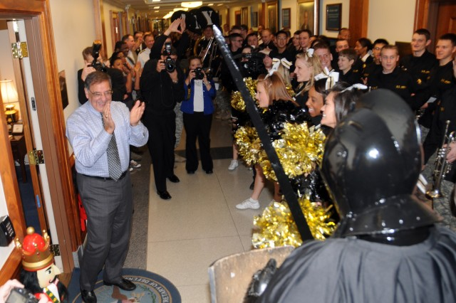 Cadets from the U.S. Military Academy at West Point, N.Y., part of the school's Sprit Band, met with Secretary of Defense Leon E. Panetta outside his office in the Pentagon, Dec. 7.