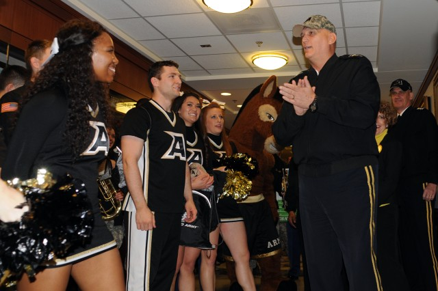 Chief of Staff of the Army Gen. Ray Odierno met with cadets from the U.S. Military Academy at West Point, N.Y. The cadets were part of the school's Sprit Band and cheerleading team, and visited the Pentagon to rally support for the Dec. 8 Army-Navy game in Philadelphia.