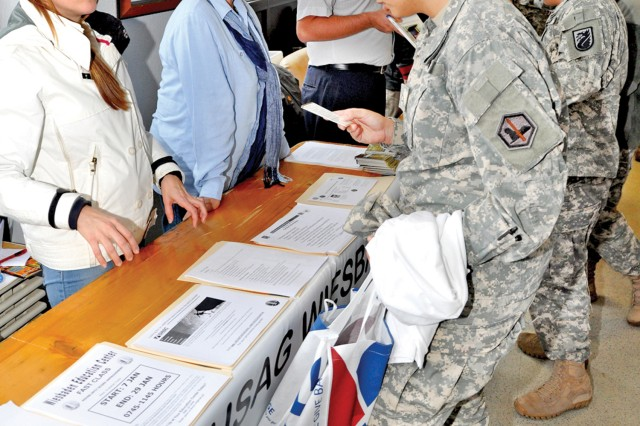 Representatives of the Wiesbaden Education Center and various other local organizations provide Soldiers with a wealth of information during the Exchange Foxhole Event.