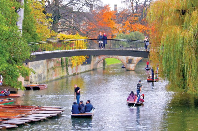 Students enjoy punting on the river in Cambridge, England.