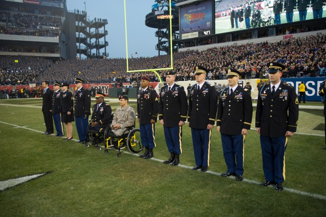 U.S. Army Combat veterans are honored during a ceremony in recognition of Valor in Operations Iraqi and Enduring Freedom during the 113th Army vs. Navy football game Dec. 8, 2012, in Philadelphia. (U.S. Army Photo by Staff Sgt. Teddy Wade/Released)