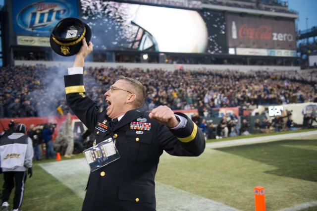 U.S. Army Brig. Gen. Theodore D. Martin, Commandant of Cadets, celebrates the Army's touchdown during 113th Army vs. Navy football game Dec. 8, 2012, in Philadelphia. (U.S. Army Photo by Staff Sgt. Teddy Wade/Released)