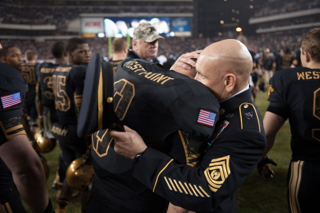 U.S. Army Command Sgt. Maj. Todd Burnett, command sergeant major, US lost at the 113th Army vs. Navy football game Dec. 8, 2012, in Philadelphia, Pa. Steeleman is a senior at the U.S. Military Academy. (U.S. Army Photo by Staff Sgt. Teddy Wade/Released)