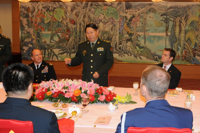Deputy Chief of the General Staff, Lt. Gen. Qi Jianguo hosted lunch Nov. 26 at the Ministry of National Defense in Beijing. Qi invited members of the United States Army Pacific Disaster Management Exchange delegation to attend the luncheon.