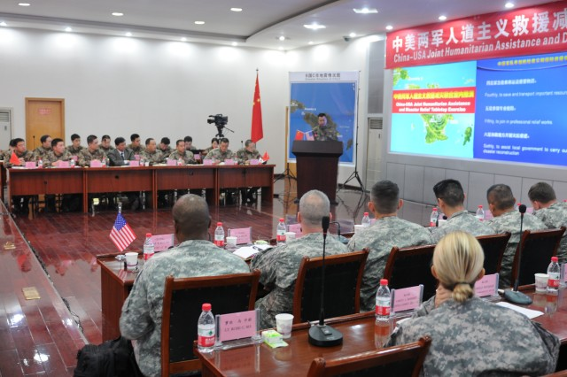 The U.S. Army Pacific and the People's Liberation Army participated in the first Joint Humanitarian Assistance and Disaster Relief Tabletop Exercise Nov. 29 - 30 at the Sichuan Provincial Military Command Training Base under Chengdu Military Command.  The exercise scenario was based on a fictional third party nation with 'City C' having a 7.8 earthquake with widespread destruction and loss of life. The tabletop exercise was part of a Disaster Management Exchange Nov. 26 - Dec. 2 between the PLA and U.S. Army Pacific. The 2012 DME was hosted by the PLA in three locations in China: Beijing, Kunming, and Chengdu. The DME is an annual USARPAC security cooperation event with the People's Republic of China and the PLA. The DMEs with China began in 1998 with actual visits beginning in 2005.