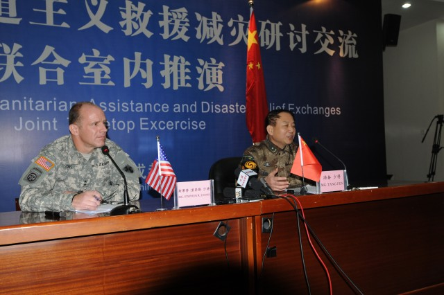 A press conference was held Nov. 30 at the Sichuan Provincial Military Command Training Base under Chengdu Military Command, China. 8th Theater Sustainment Command, Commanding General, Maj. Gen. Stephen Lyons who led the U.S. delegation and Chief of General Political Department Public Affairs, Maj. Gen. Tang Fen provide opening statement and answered questions from the media. The press conference occurred during the first USARPAC and PLA's first Joint Humanitarian Assistance and Disaster Relief Tabletop Exercise.