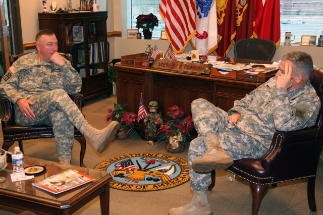 "Brig. Gen. Stephen E. Farmen, Chief of Transportation, hosted Lt. Gen. Raymond V. Mason, U.S. Army deputy chief of staff, G-4 (Logistics), for an office call during his visit to the ""Home of Sustainment"" Dec. 7. Farmen discussed the state of the Transportation Corps and future initiatives with Mason."