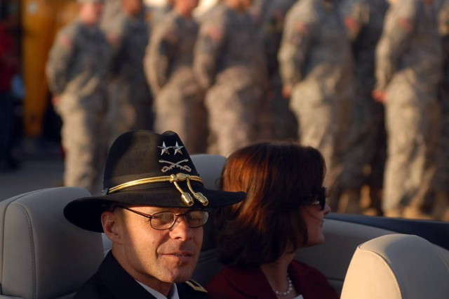 KILLEEN, Texas--Maj. Gen. Anthony Ierardi, commanding general of the 1st Cavalry Division, prepares to lead Soldiers from the 1st Brigade Combat Team during Killeen's 50th Annual Christmas Parade, here, Dec. 8. Ieradi served as the parade grand marshal.