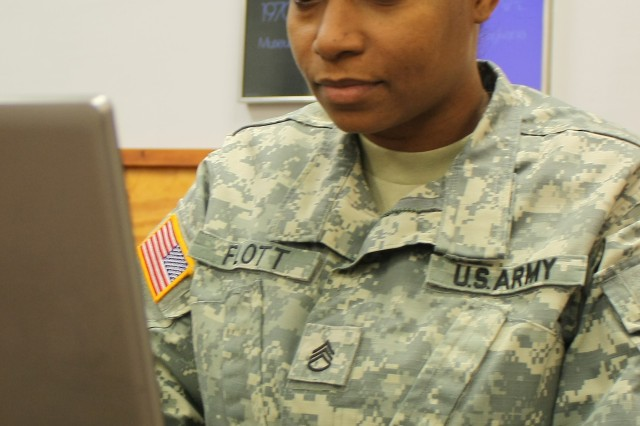 Staff Sgt. Joy Scott, non-commissioned officer in charge of Behaviorial Health Department at the General Leonard Wood Army Community Hospital completes a Behavioral Health Data Portal screening.