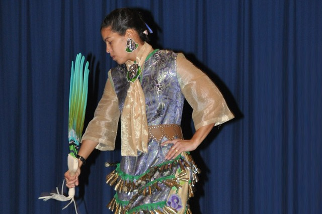 Adrienne Harmon of the Nanticoke Indian Association performs a jingle dress dance during the Native American Heritage Month observance at the APG North (Aberdeen) recreation center Nov. 27.