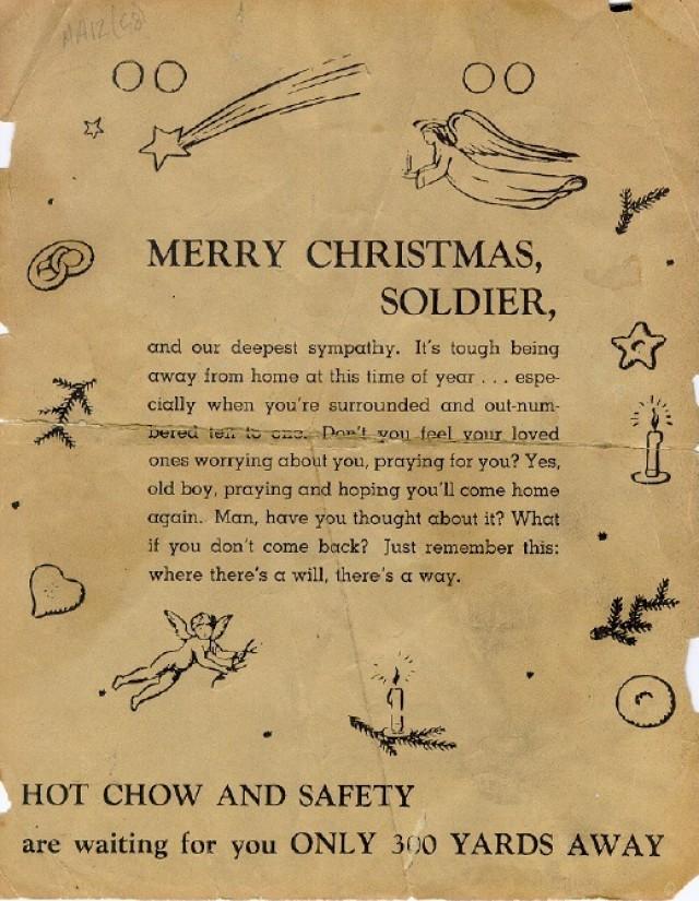 German propaganda leaflet fired into Bastogne