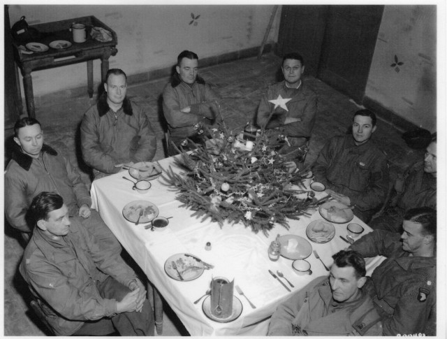 Brig. Gen. Anthony McAuliffe and his staff gathered for Christmas dinner Dec. 25th, 1944.