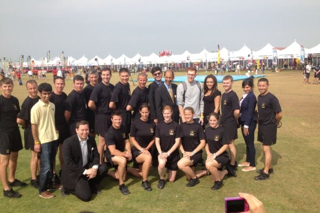 The Golden Knight Competition Teams pose with U.S. Ambassador at Tent City in Dubai, United Arab Emirates.