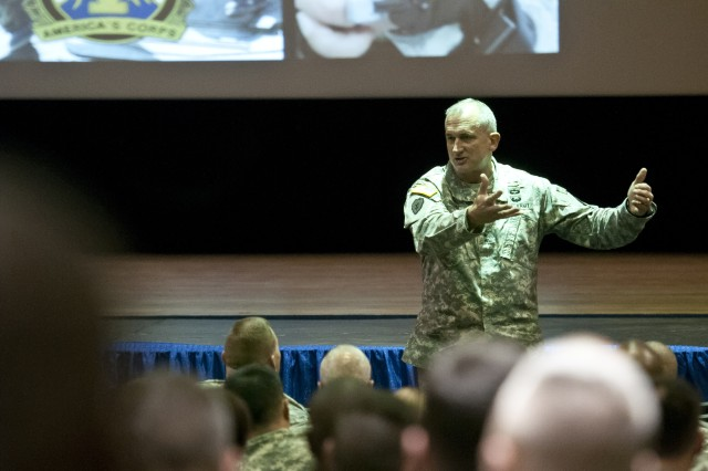 Lt. Gen. Robert Brown, commanding general, I Corps, explains to an assembly of more than 100 Joint Base Lewis-McChord, Wash., leaders, staff officers and civilians, Dec. 10, 2012, the installation's near-future mission shift from the Afghanistan conflict more toward Pacific Rim support during an open forum. Brown wanted to ensure leaders understand the road ahead and spent time afterward addressing their general concerns, to include fear of downsizing at Joint Base Lewis-McChord and diminishing resources in the Army.
