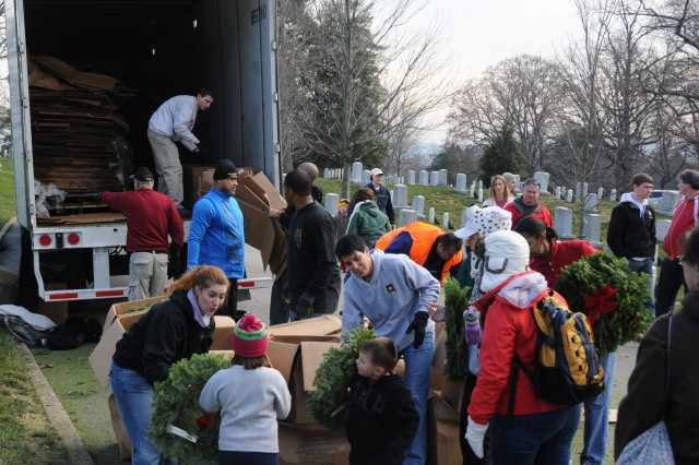 Volunteers offload boxes from semi-trailers and hand out wreaths to thousands of people from different locations throughout Arlington National Cemetery, Va., Dec. 15, 2012.