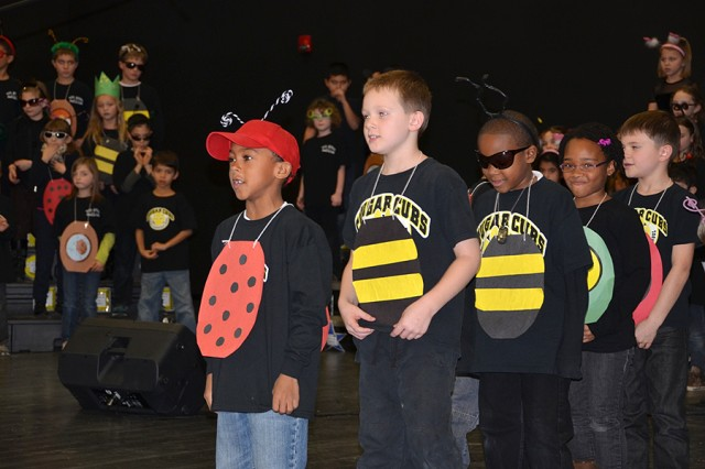 "Vicenza Elementary School students perform ""A Bugz Christmas"" for the entire school community Dec. 12, 2012, under the direction of Michael James and Angela Hartwig, in Vicenza, Italy."