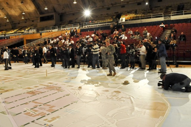 A giant 40-by-60 foot map featuring 3-dimensional replicas of the Washington capital building and White House sits on the floor of the D.C. Armory in Washington, D.C., to be used in an exercise, Dec. 12, 2012. The map exercise was used by the JTF-NCR to discuss plans for military support of the 57th Presidential Inauguration scheduled for Jan. 21, 2013.