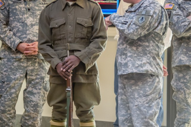Citizen Soldiers wear period uniforms to reflect a particular era of history during Fort Leonard Wood's celebration of the National Guard's 376th birthday Dec. 13.