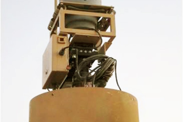 The sensor is mounted on a vehicle, usually a Husky, using a 10-inch turret with state-of-the-art infrared and high-definition color cameras.