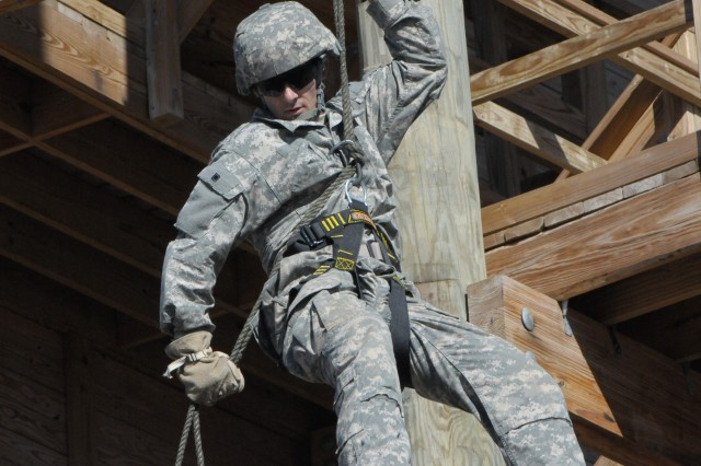 Capt. Andrew Sidwell, with the 1-393rd Infantry Battalion, 479th Field Artillery Brigade, Division West, rappels from the air assault training tower on Fort Hood, Texas, Dec. 5, 2012, during validation training for the 30th annual Best Ranger Competition. Sidwell is part of a two-Soldier team that was selected to represent First Army in the Army-wide competition to be held in April 2013.