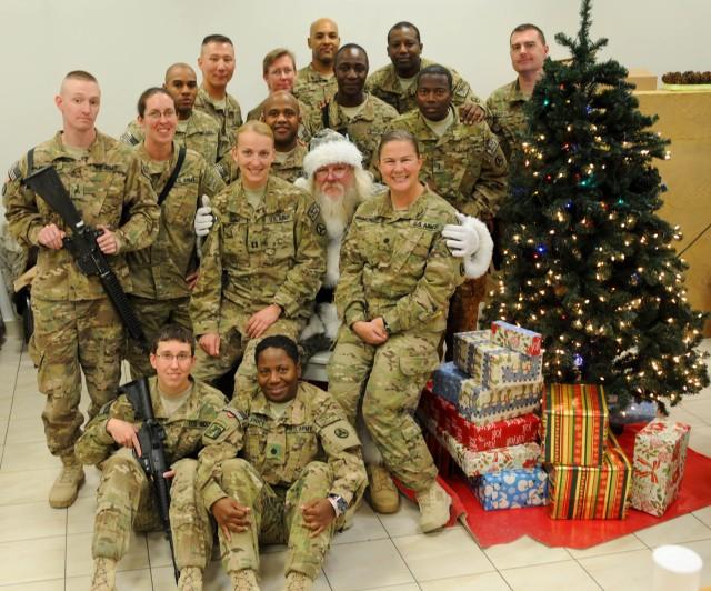 Soldiers visit with Santa