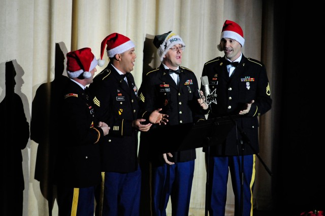 "The Fires Four sang ""Twelve Days of Christmas""... (the general gave to me) as an Army twist on a classic Dec. 15 for the 77th Army Band's holiday concert at McMahon Memorial Auditorium."