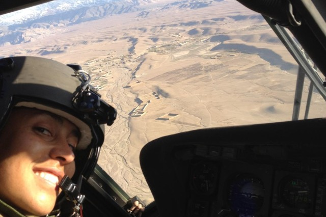 Capt. Tanja Duester, with the 96th Aviation Support Battalion, 101st Combat Aviation Brigade, 101st Airborne Division, a currently deployed Pittsburgh native flying over Afghanistan.