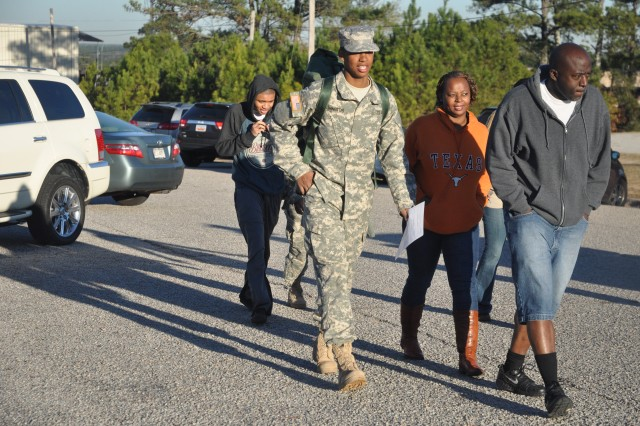 Pvt. Jamil Washington, 3rd Battalion, 34th Infantry Regiment, leaves Fort Jackson Wednesday to spend the holidays with his family.
