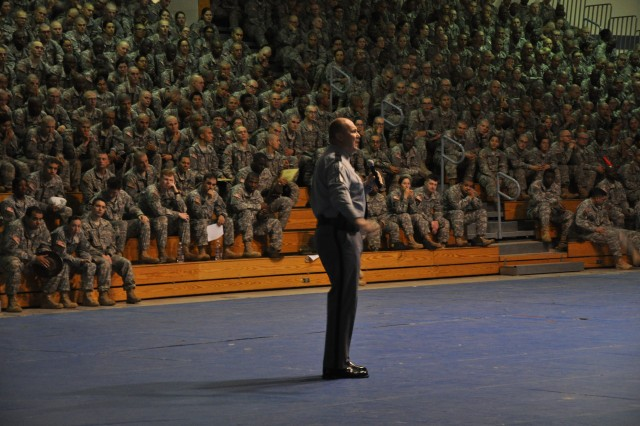 Sgt. Bob Beres, commander of the community relations office for the South Carolina Highway Patrol, speaks Monday with Soldiers at the Solomon Center about the realities of highway safety, particularly the dangers of drinking and driving.