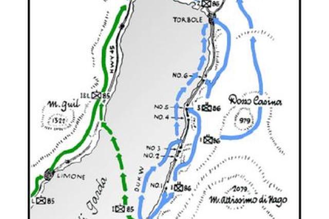 A map depicitng the final battles in Italy at Lake Garda during World War II.