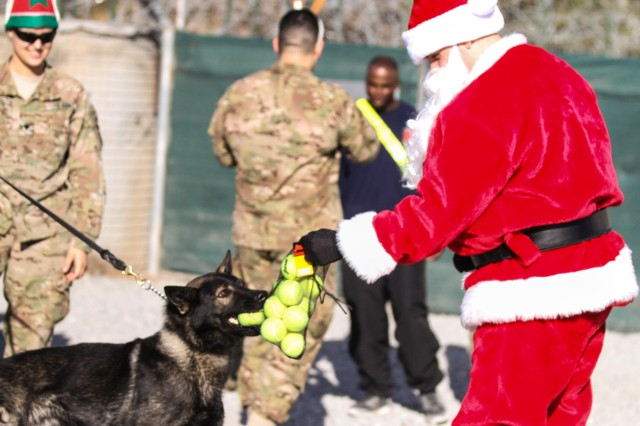 "KHOWST PROVINCE, Afghanistan - Chief Warrant Officer 2 Brian Boase, an intelligence chief, Headquarters, Headquarters Company, 3rd Brigade Combat Team ""Rakkasans,"" 101st Airborne Division (Air Assault), delivers tennis balls dressed as Santa to the Military Police K-9 attachment on Forward Operating Base Salerno, Dec. 25, 2012. Boase dressed as Santa and delivered more than 200 care packages to the Soldiers and civilians of FOB Salerno for Christmas. (U.S. Army photo by Spc. Brian Smith-Dutton, Task Force 3/101 Public Affairs)"
