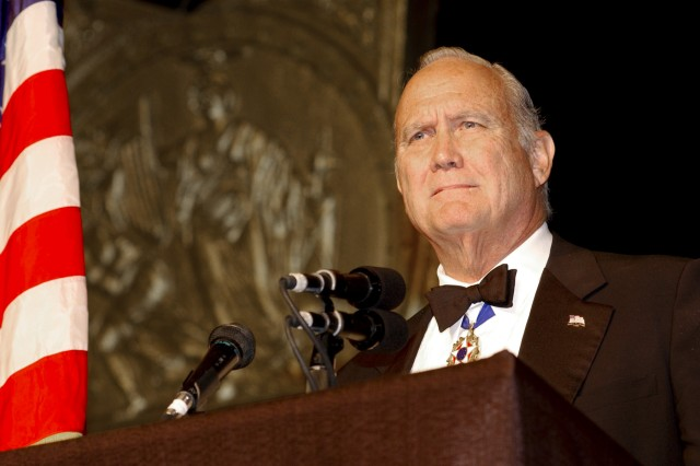 Retired Army Gen. H. Norman Schwarzkopf gives an acceptance speech after receiving the Congressional Medal of Honor Society's Patriot Award during a ceremony in Shreveport, La., Sept. 12, 2002. The Patriot Award is the society's highest award, presented to a distinguished American who exemplifies the ideals that make the United States strong.