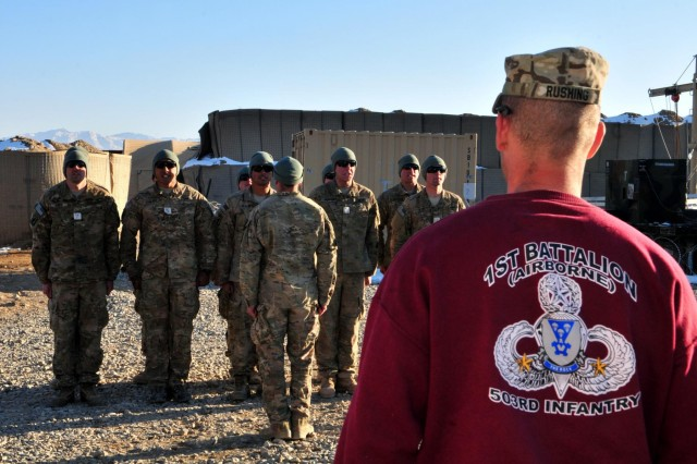 Sgt. 1st Class Zachari Rushing watches as Soldiers of 1st Battalion, 503rd Infantry Regiment, 173rd Airborne Brigade Combat Team, recite the Ranger Creed before a graduation ceremony from 1st Battalion's two-week pre-Ranger course, at Forward Operating Base Ghazni, Afghanistan, Dec. 23, 2012. After weeks of planning and with the help of the Ranger Training Brigade at Fort Benning, Ga., who sent the most current course materials, a cadre of Ranger-qualified noncommissioned officers from 1st Battalion put together a course, focusing on the fundamentals taught at what is generally considered one of the toughest courses the army offers.