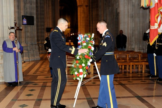 Maj. Gen. Michael S. Linnington, commanding general of the Joint Task Force -- National Capital Region and the U.S. Army Military District of Washington, lays the wreath in honor of the 28th President of the United States Woodrow Wilson, on his birthday, at the Washington National Cathedral with a Joint Armed Forces Full Honor wreath-laying ceremony, Dec. 28, 2012.