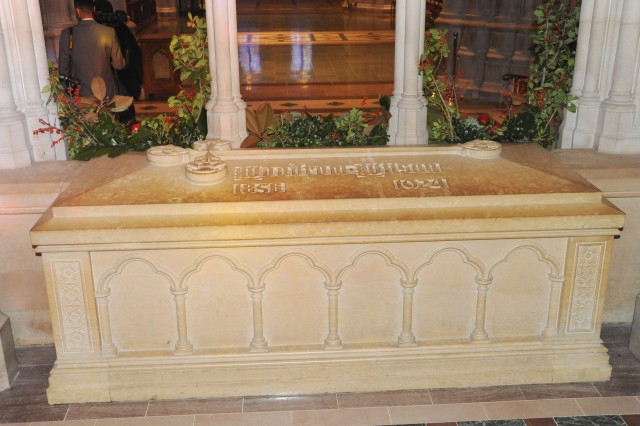 The tomb of Woodrow Wilson, the 28th President of the United States, sits in the Washington National Cathedral.