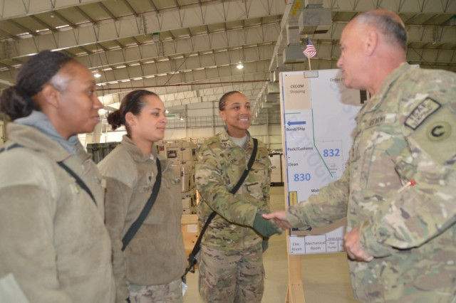 Major General Kurt J. Stein, 1st Theater Sustainment Command commanding general, talks with Pfc. Christine O. Stanley, Spc. Jasmine L. DuPont, and Cpl. Latasha R. Leal at the AFSBn-Bagram, 401st Army Field Support Brigade redistribution property assistance yard Dec. 30.  Leal briefed Stein and Maj. Gen. Kenneth R. Dahl, U.S. Forces-Afghanistan, deputy commander for support, on their processes and procedures for handling non-rolling stock equipment turned in at the AFSBn-Bagram, 401st Army Field Support Brigade redistribution property assistance team yard.