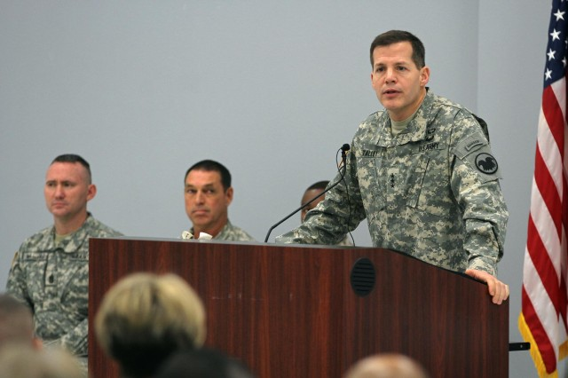Lt. Gen. Jeffrey Talley, chief of the Army Reserve and commanding general of the U.S. Army Reserve Command, conducts a town hall meeting at the James E. Rudder U.S. Army Reserve Center with Army Reserve Soldiers in San Antonio, Jan. 3, 2013, laying out his priorities for the future of the force.