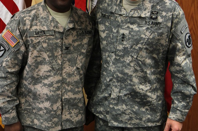 Lt. Gen. Jeffrey Talley (right), Chief of the Army Reserve and Commanding General of the U.S. Army Reserve Command, meets Jan. 3 with Col.(promotable) Norman Green, commander, 4th Expeditionary Sustainment Command, as part of U.S. Army All-American Bowl activities in San Antonio. Talley conducted a town hall meeting at the James E. Rudder U.S. Army Reserve Center with Army Reserve Soldiers in San Antonio, laying out his priorities for the future of the force.