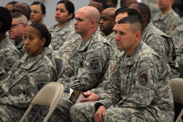 """Army Reserve Soldiers in San Antonio hear from Lt. Gen. Jeffrey Talley, Chief of the Army Reserve and Commanding General of the U.S. Army Reserve Command, during a town hall meeting at the James E. Rudder U.S. Army Reserve Center Jan. 3. Talley discussed his intent and priorities for the Reserve, including his """"Rally Point"""" strategy as the Reserve draws down from a war-footing. Talley took time to see his San Antonio Soldiers during his visit for the U.S. Army All-American Bowl."""